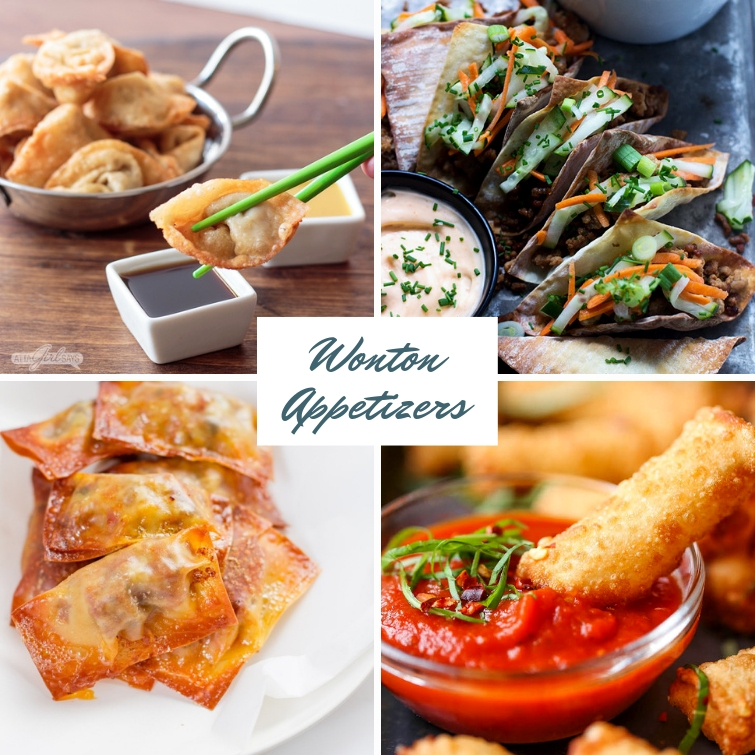 collage showing four different appetizers you can make using wonton wrappers