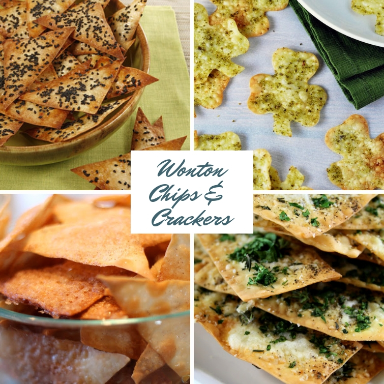 collage of four different chip and cracker recipes made with wonton wrappers