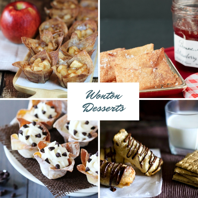 collage of four different desserts to make with wonton wrappers