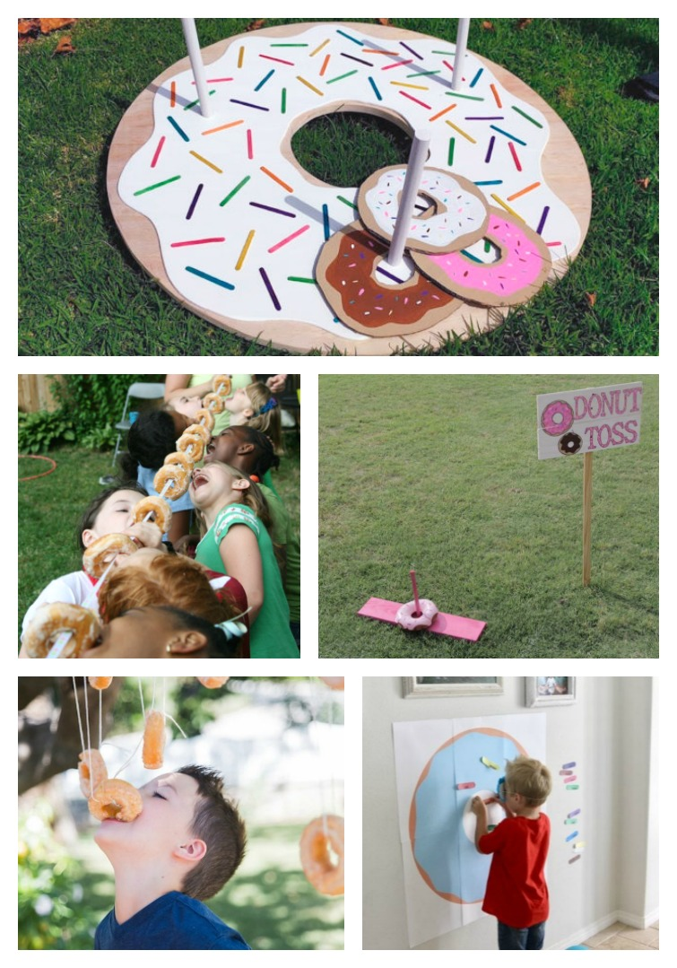 Donut Party Games including donut ring toss, donuts on a string, donut toss, bobbing for donuts and pin the sprinkle on the donut