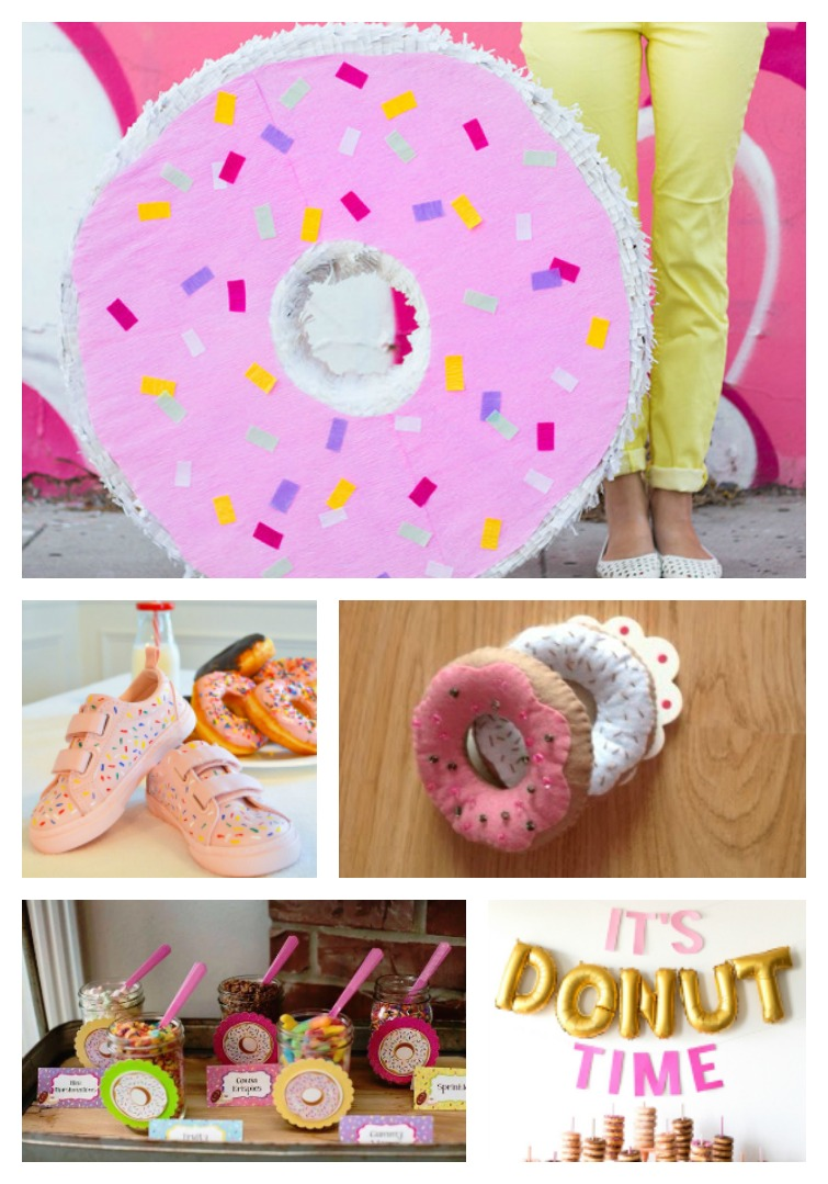 donut party ideas including a donut pinata, donut sneakers, felt donuts, a donut buffet and donut balloons