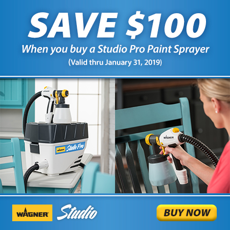 coupon for $100 off a Wagner Studio Pro paint sprayer