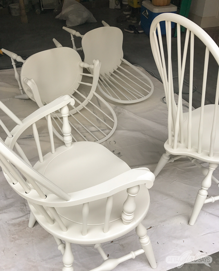 painting Windsor dining chairs with a sprayer