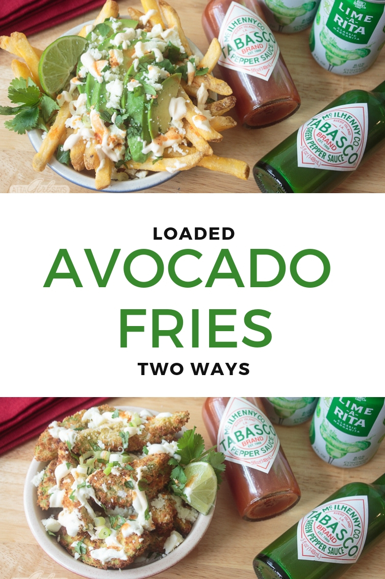loaded avocado cheese fries prepared two different ways