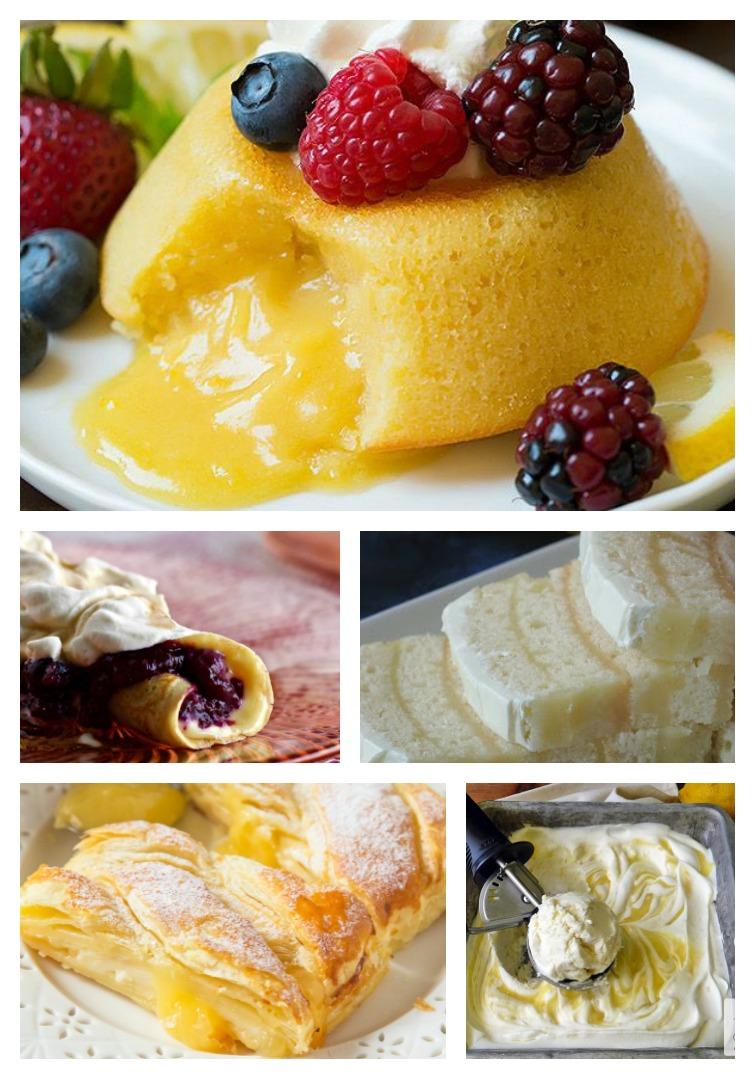 collage showing five Lemon Curd Dessert Recipe Ideas