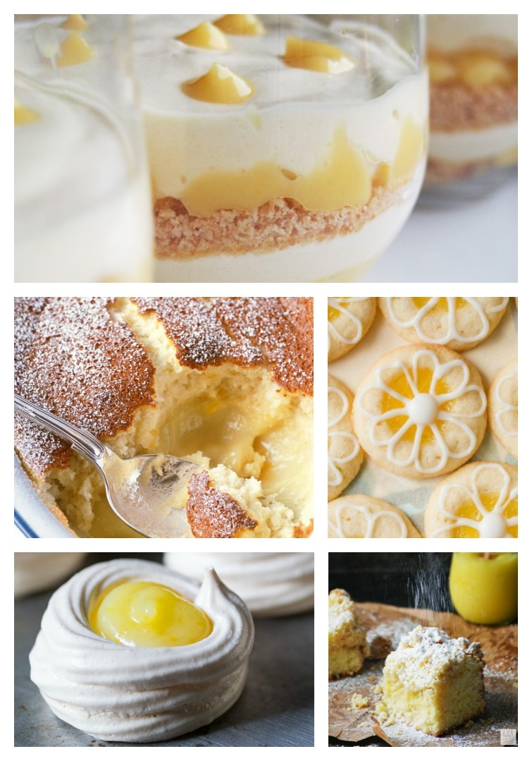 collage showing five different lemon curd desserts