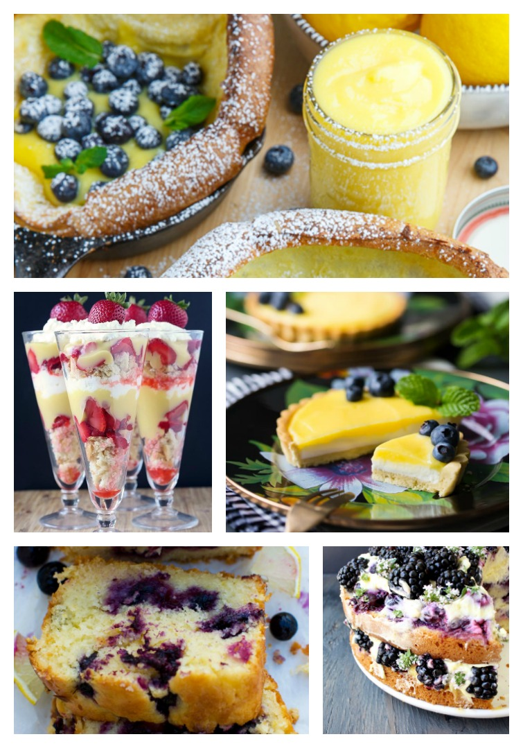 collage showing five different lemon curd desserts with berries