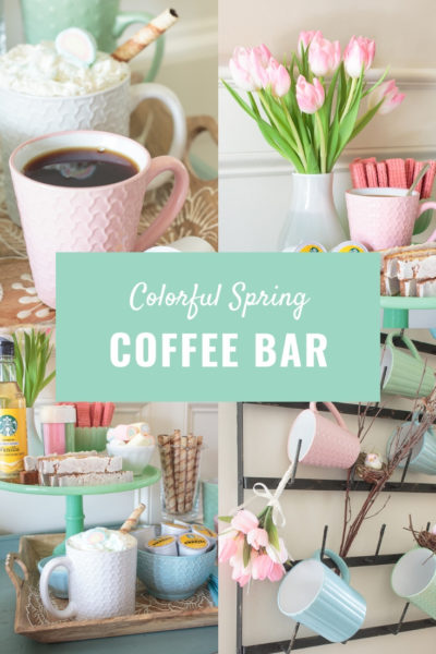 colorful spring coffee bar and mug rack decor
