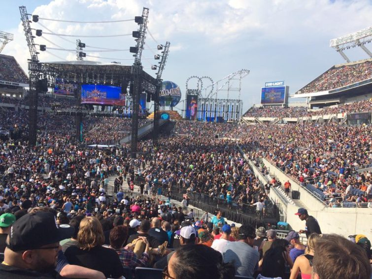 huge crowd at Wrestlemania 33 at Camping World Stadium in Orlando in April 2017