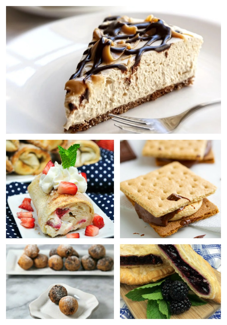 collage photo of cheesecake, fruit pastry, s'mores and cookie bites made in an air fryer