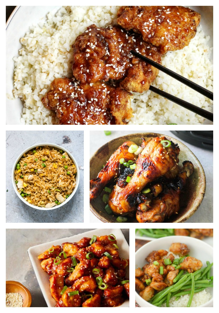 collage of five different Asian Style Air Fryer Chicken Recipes