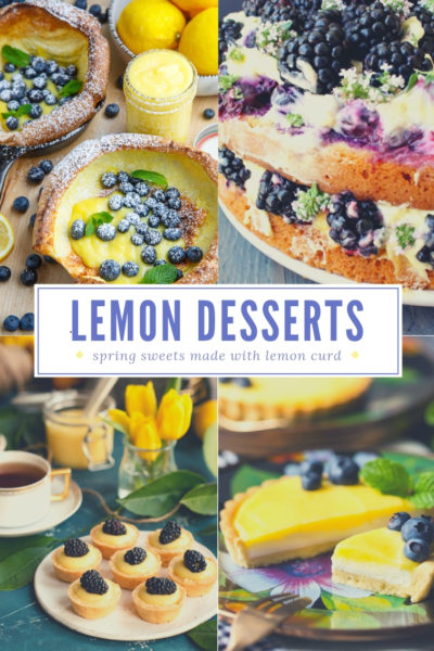 collage of four different lemon curd desserts with berries