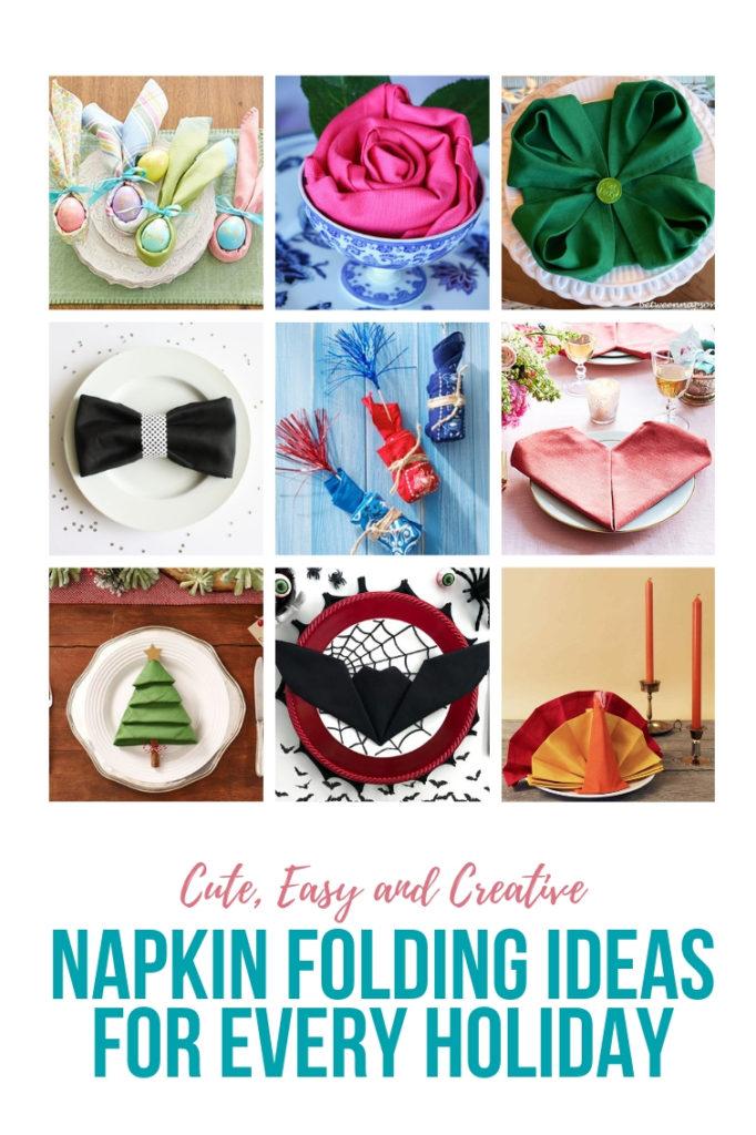 collage of napkin folding ideas