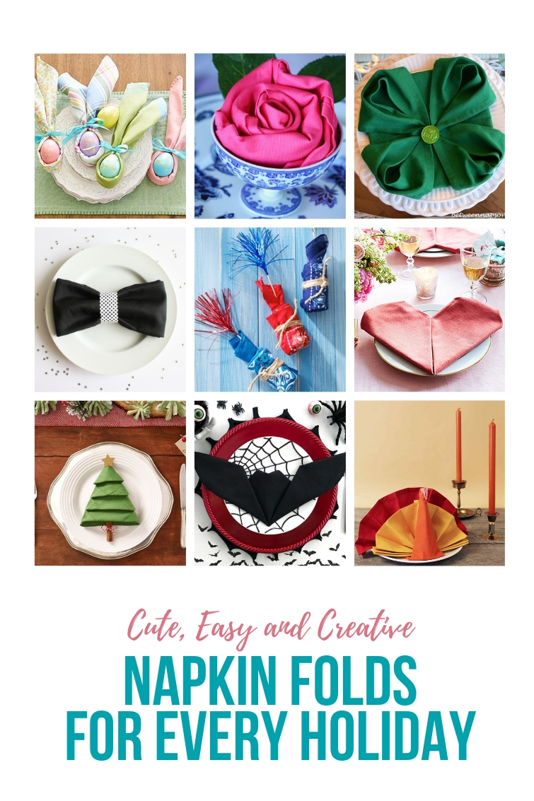 collage of napkin folding ideas for various holidays