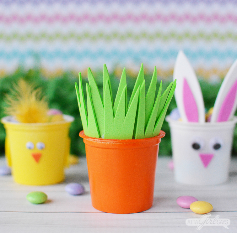 spring chick, carrot and Easter bunny treat cups made from recycled K cups