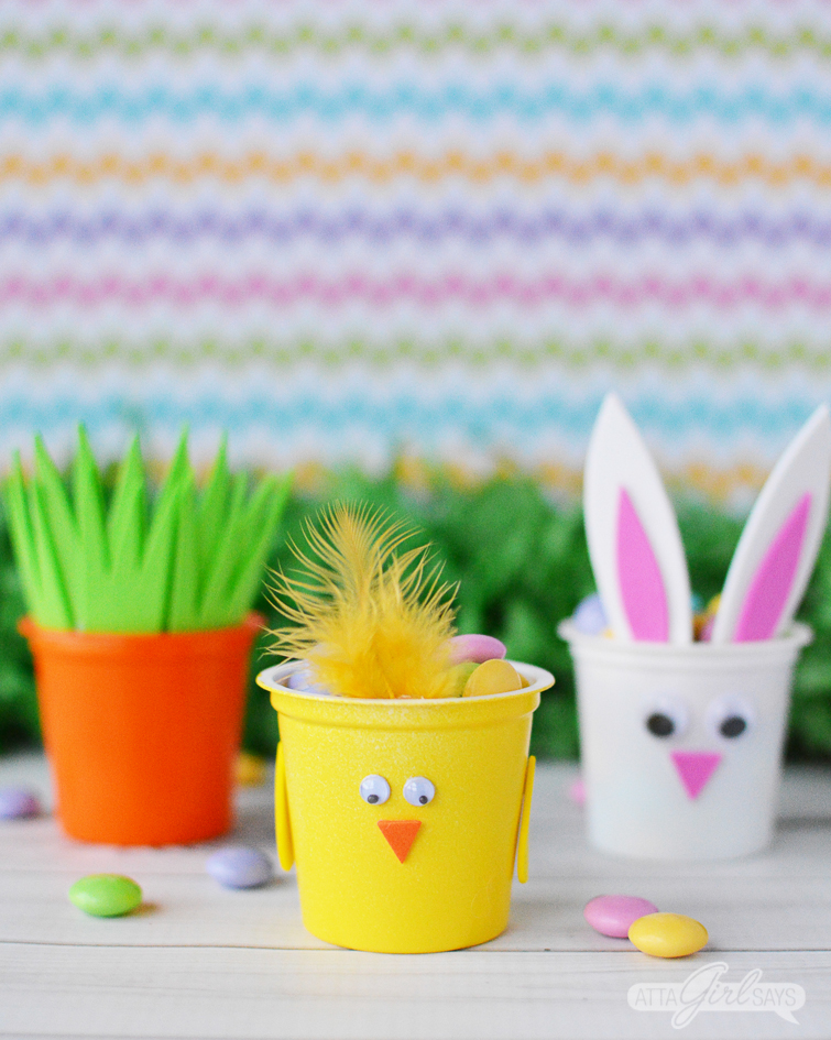 carrot, spring chick and Easter bunny treat cups made from recycled K cups