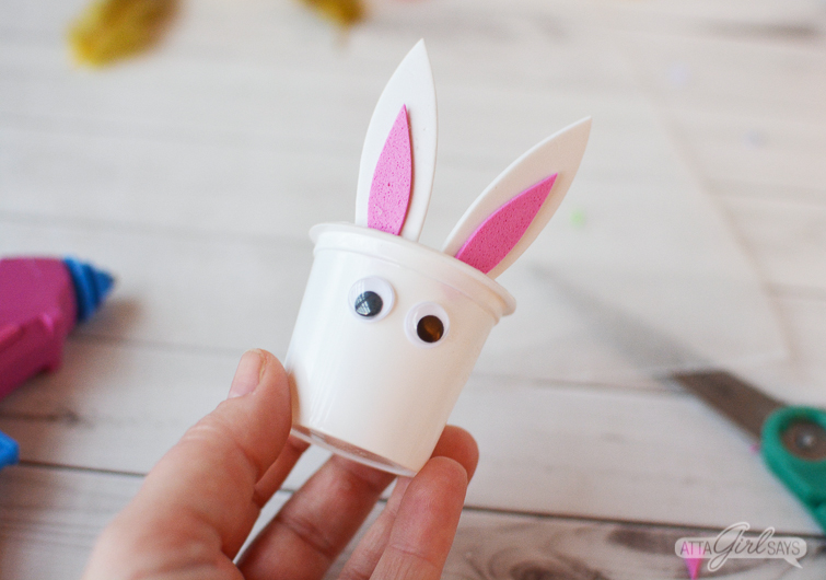 making an Easter bunny candy treat cup out of recycled K cups