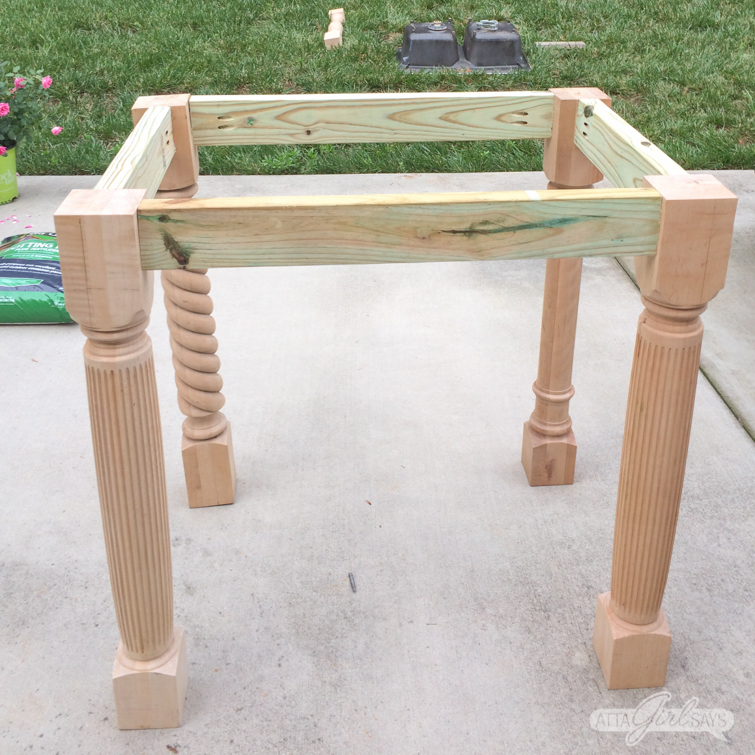 wooden base for an outdoor sink