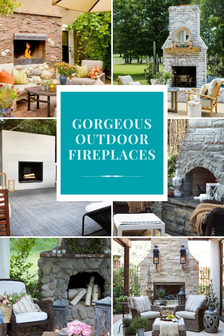 collage of outdoor stone and brick fireplaces