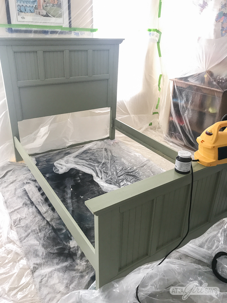 setting up a temporary DIY spray booth inside to paint furniture without ruining carpet