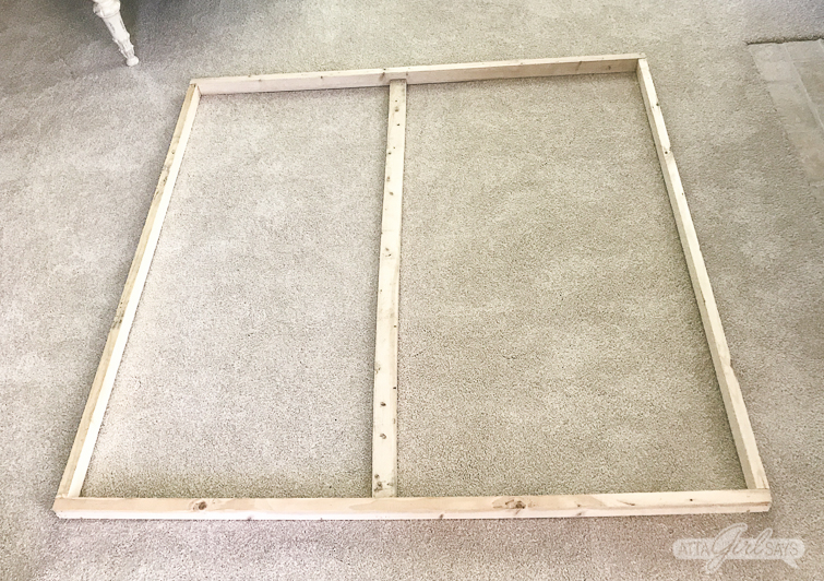 DIY wooden stretcher frame for oversized canvas artwork