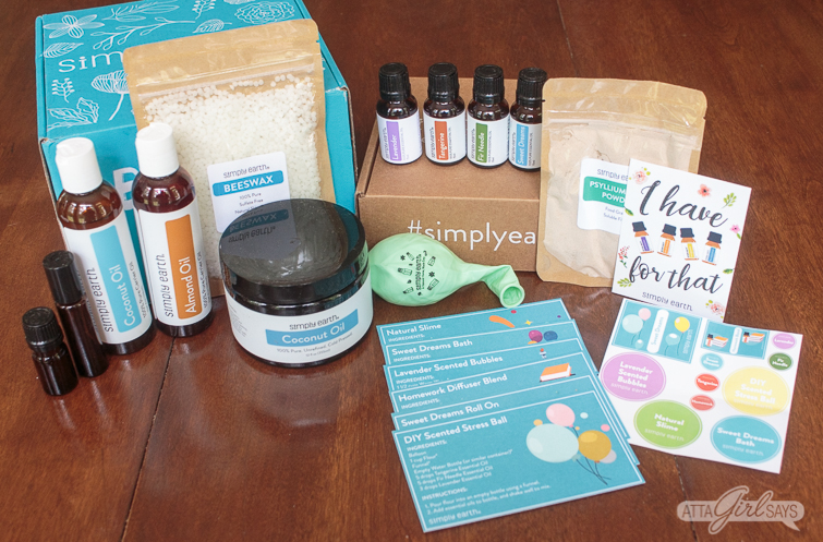 contents of the Simply Earth monthly essential oil subscription box