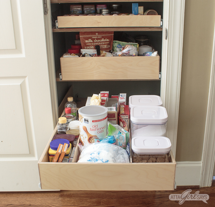 baking supplies in an organized kitchen pantry
