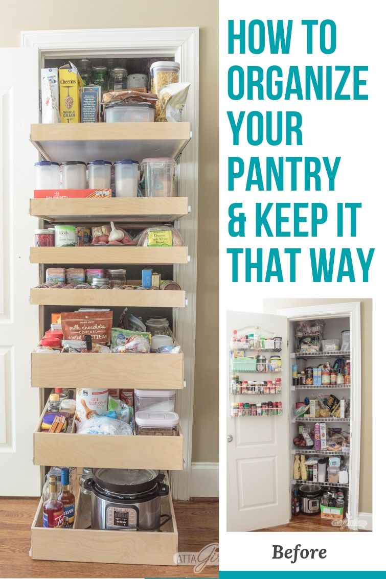 organized pantry closet with slide-out Shelf Genie drawers