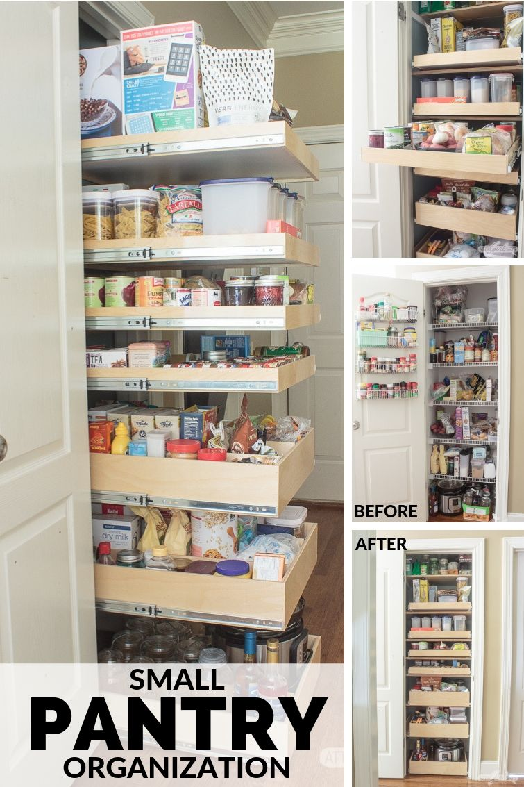 before and after shots of an organized pantry with ShelfGenie