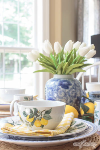 Lemon Yellow Chinoiserie Tablescape for Summer