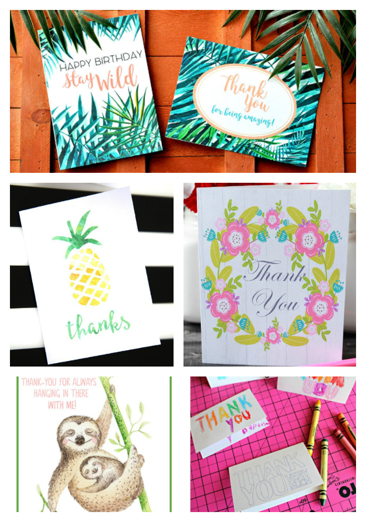 Free Printable Thank You Cards for adults and kids