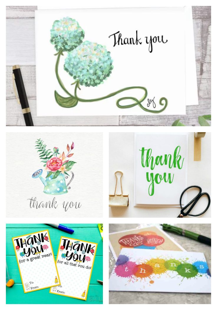 Collage showing five free Printable Thank You Cards