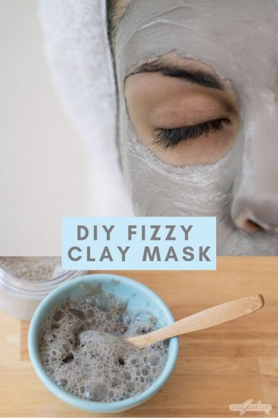 photo of a woman with a clay mask on her face atop a second photo of a carbonated bubble clay mask in a bowl