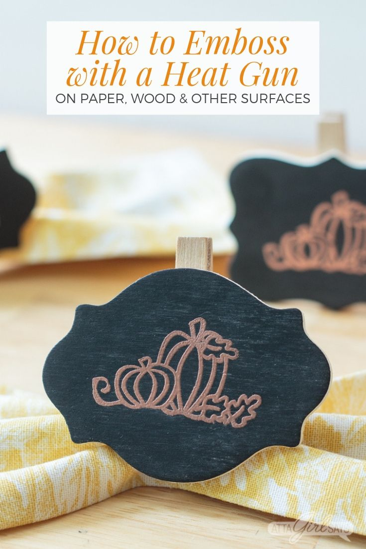 wooden chalkboard clip with a copper embossed pumpkin design