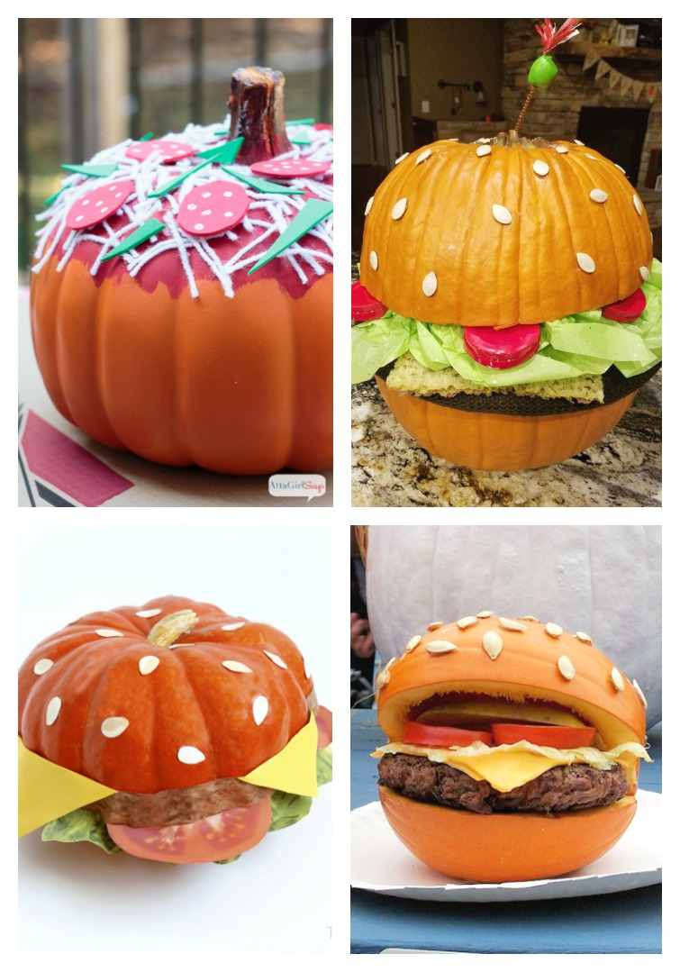 No Carve Pumpkins That Look Like Cheeseburgers and Pizza