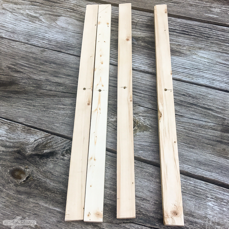 1X2 boards cut to size to make a folding camp stool