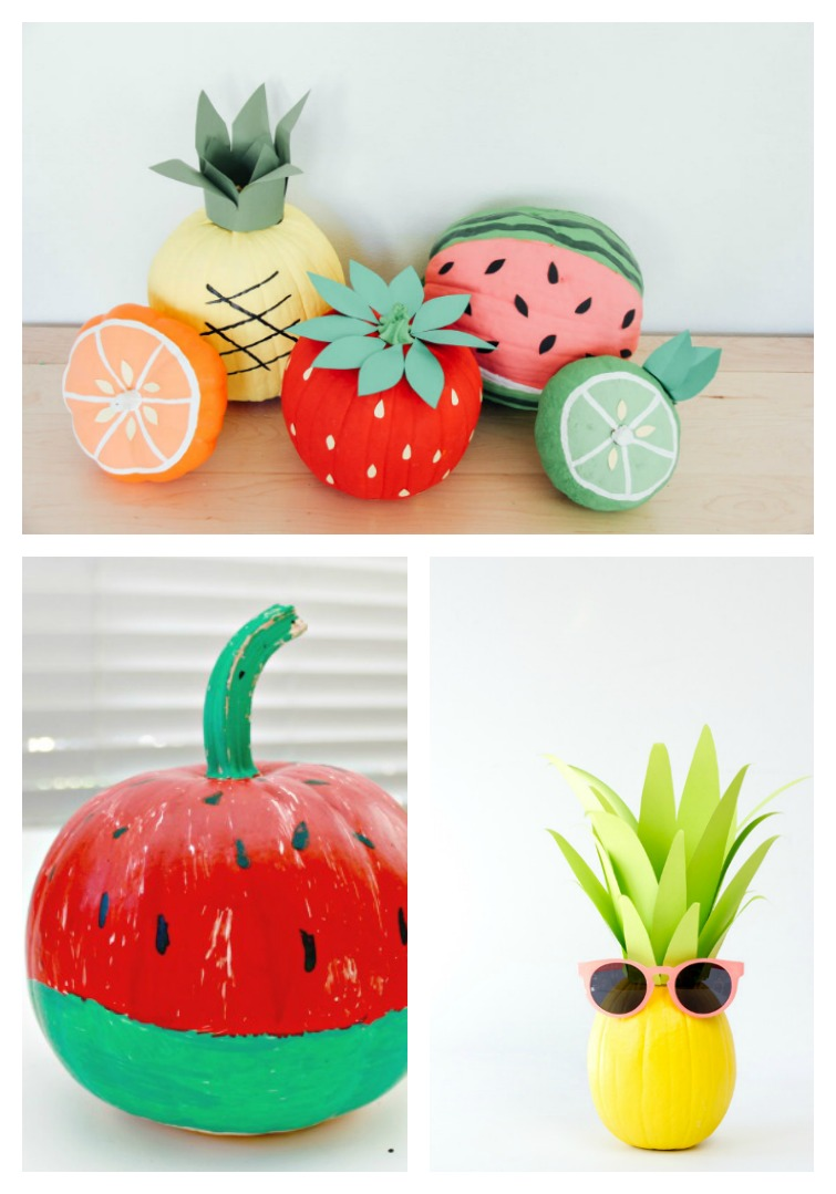 pumpkins decorated to look like oranges, pineapples, watermelon, strawberries and lime