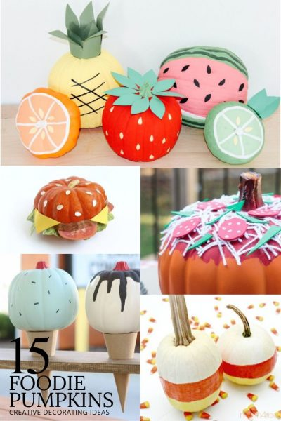 collage of pumpkins decorated to look like food