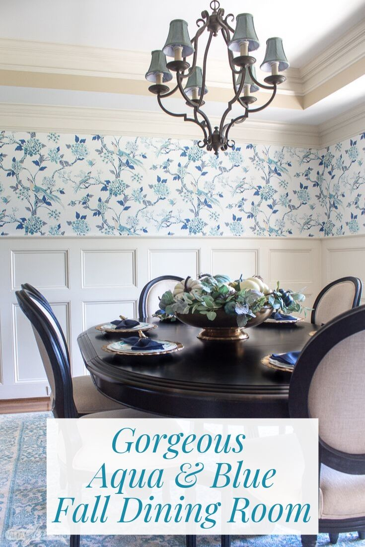blue and aqua floral toile wallpaper in a dining room