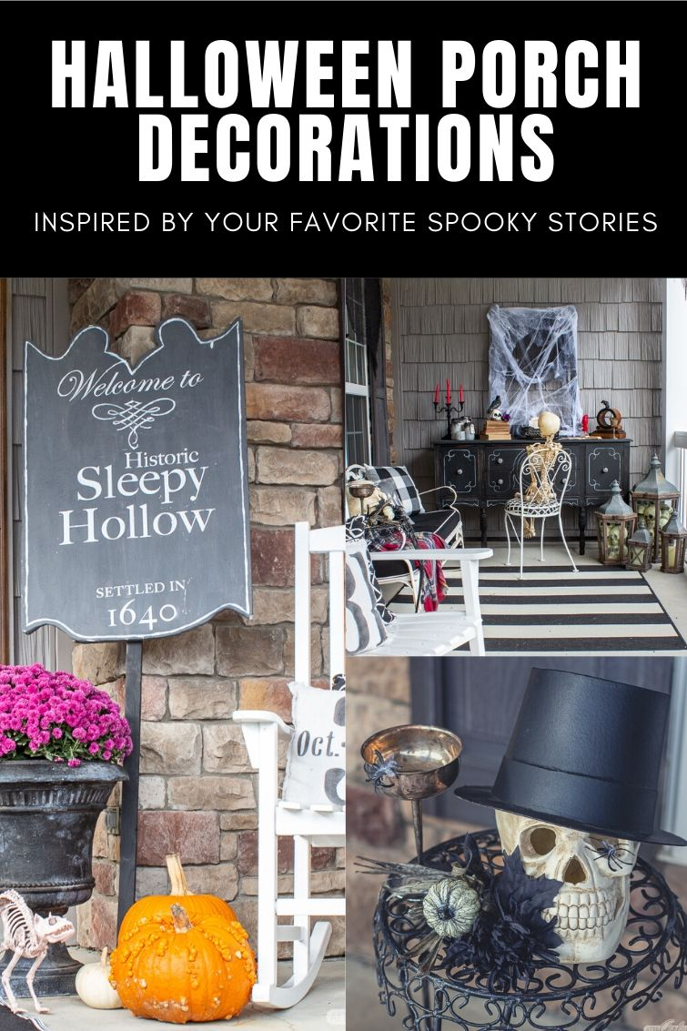 collage showing front porch Halloween decorations from The Raven and the Legend of Sleepy Hollow