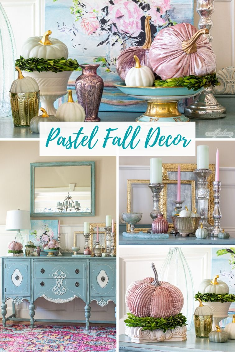 Foyer Decorating Ideas For Fall Featuring Pastel Colors Velvet Pumpkins