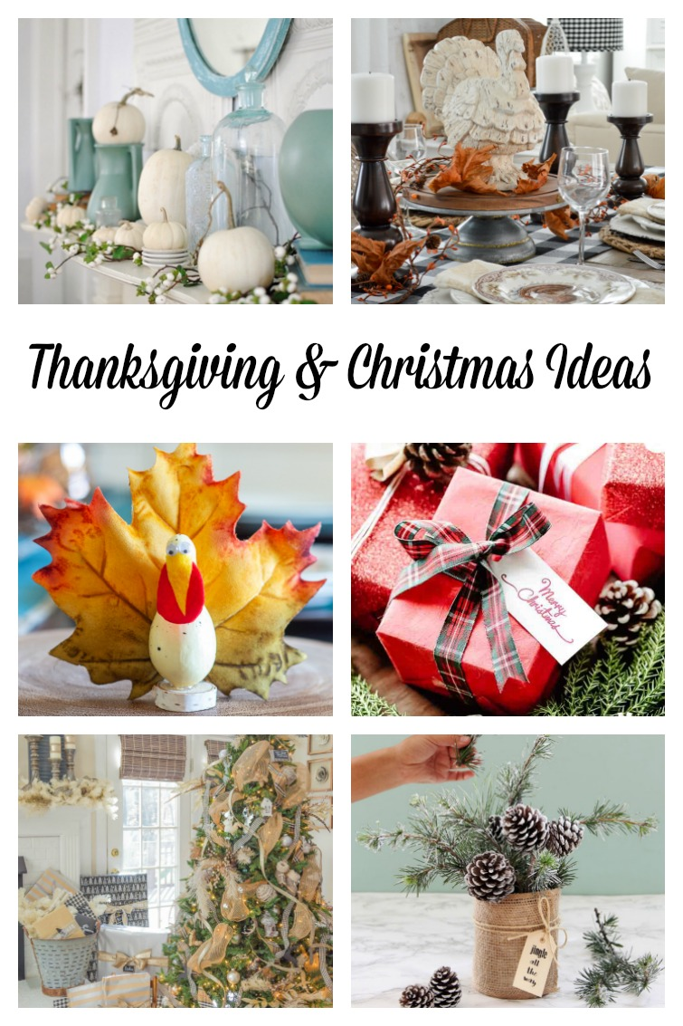 collage showing six different Thanksgiving, fall and Christmas decorating ideas