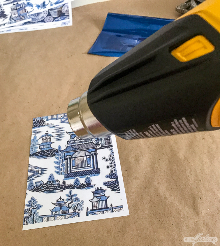 heating laser printed Chinoiserie design on paper with a heat gun