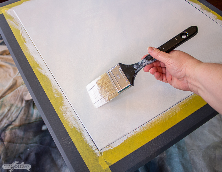 Painting the center of a game table white after using KILZ to prime it