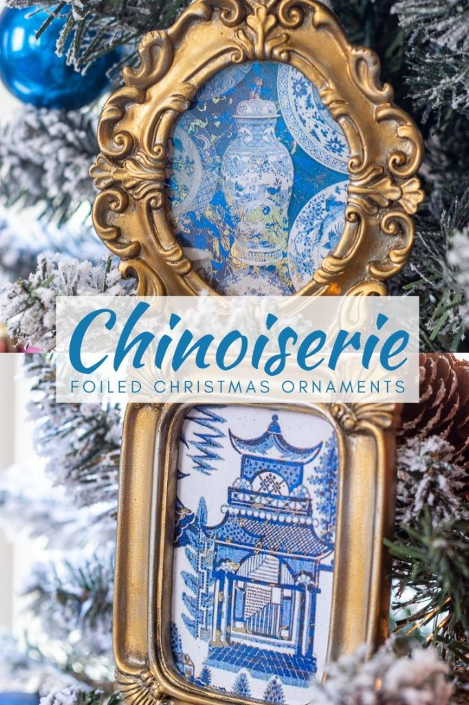 blue and white chinoiserie Christmas ornaments in gilded frames hung on a Christmas tree