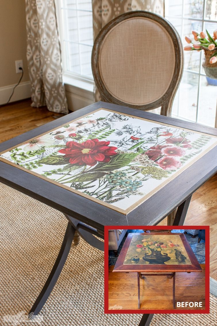 folding game table with a floral top with a before inset photo