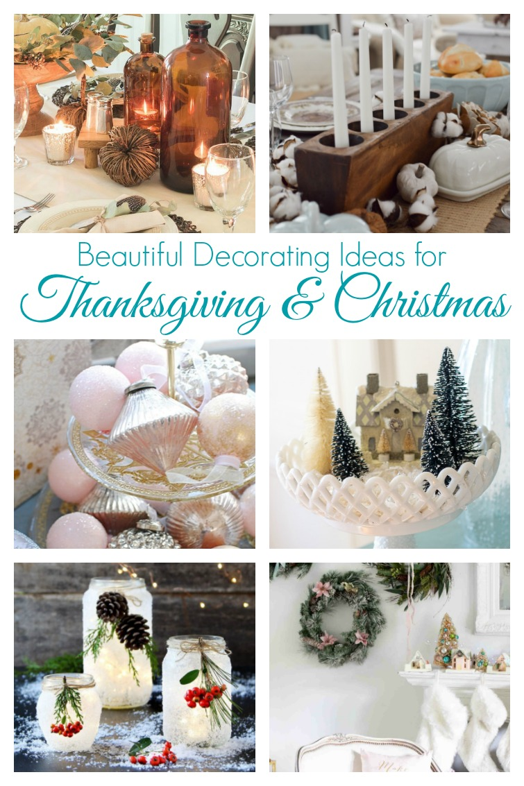 collage image showing two tables set for Thanksgiving, vintage Christmas displays, frosted mason jars and a Christmas mantel