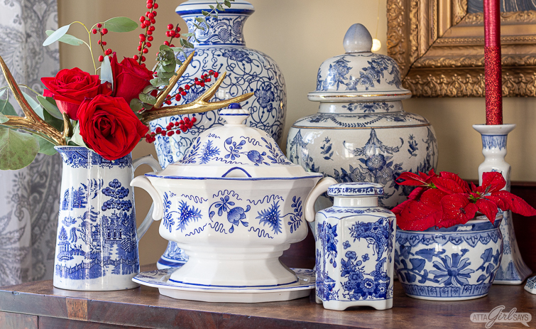 blue and white chinoiserie pottery with red roses