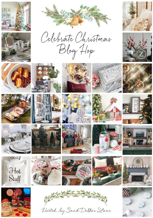 collage with Christmas decor photos for the Celebrate Christmas Blog Hop