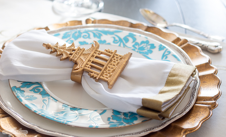 gold pagoda napkin ring on a plate